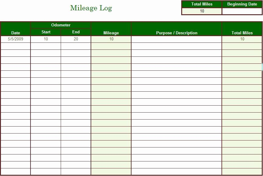 Free Mileage Log Template Unique Brooklyntrust Blog