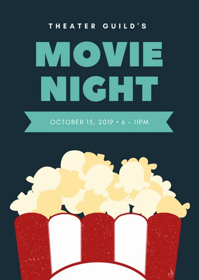 Free Movie Night Flyer Template Beautiful Dark Blue with Popcorn Graphic Movie Night Flyer
