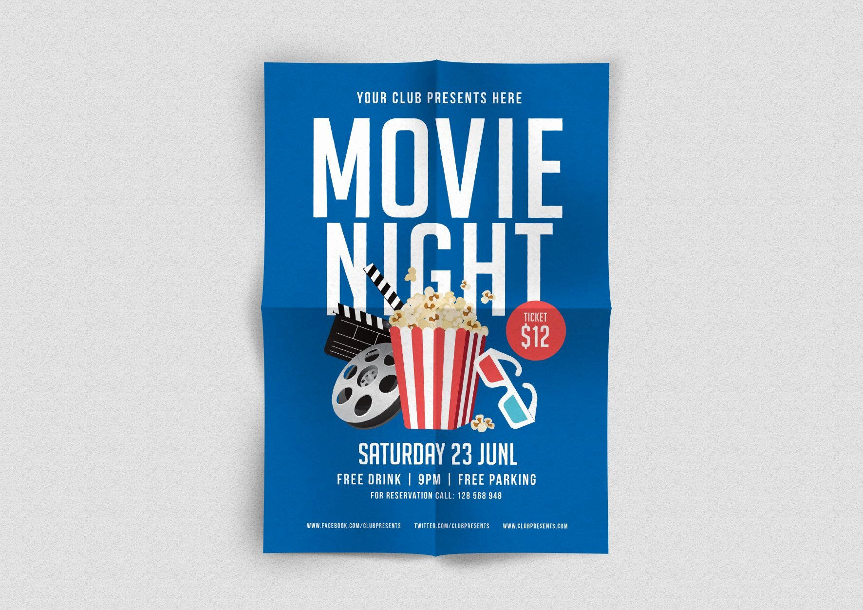 Free Movie Night Flyer Template Lovely Movie Night Flyer Flyer Templates Creative Market