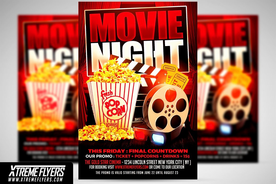 Free Movie Night Flyer Template New Movie Night Flyer Template Flyer Templates Creative Market