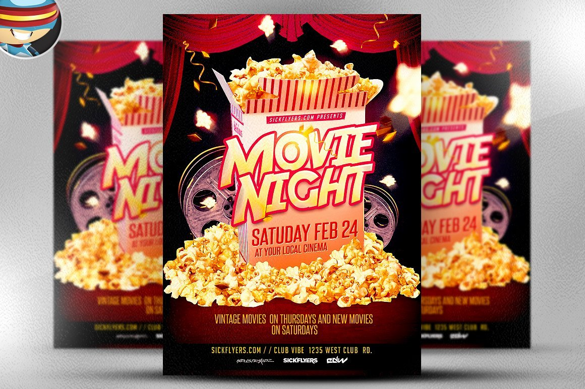 Free Movie Night Flyer Template Unique Movie Night Flyer Template Flyer Templates Creative Market