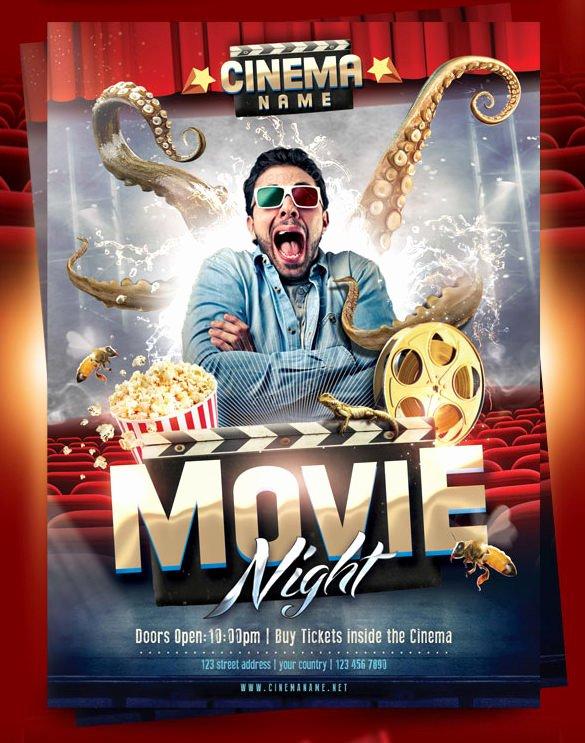 Free Movie Night Flyer Templates Awesome Movie Night Flyer Template 20 Free Jpg Psd format