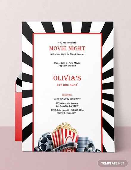 Free Movie Night Flyer Templates Elegant Free Movie Night Invitation Template In Adobe Shop