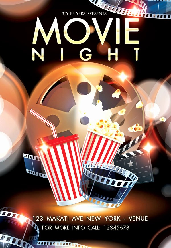 Free Movie Night Flyer Templates Fresh Free and Premium Flyers with Style Resources