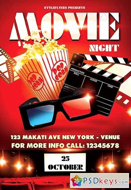 Free Movie Night Flyer Templates Inspirational Movie Night Psd Flyer Template Cover Free