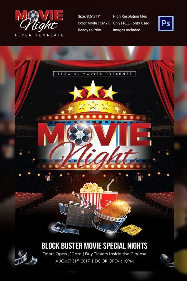 Free Movie Night Flyer Templates Lovely Movie Night Flyer Template 25 Free Jpg Psd format