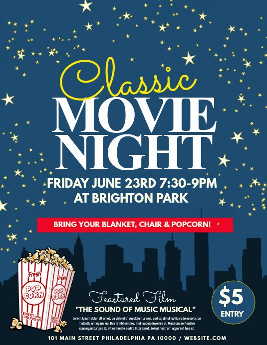 Free Movie Night Flyer Templates Lovely Movie Night Template