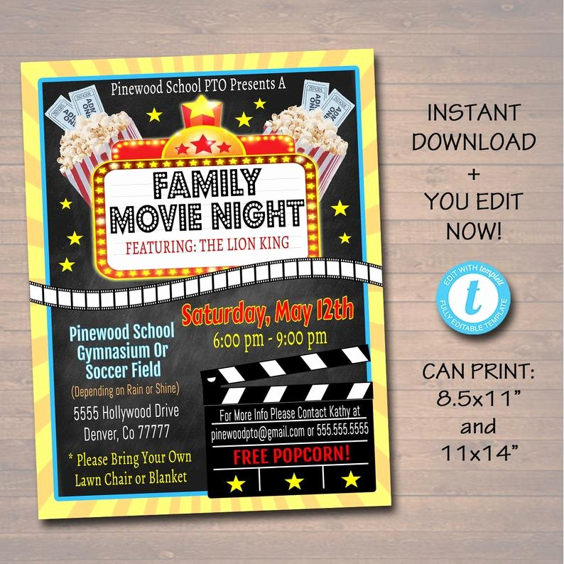 Free Movie Night Flyer Templates New Editable Movie Night Flyer Printable Pta Pto Flyer School