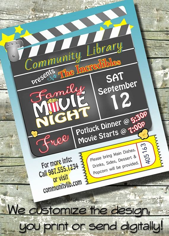 Free Movie Night Flyer Templates New Movie Night Birthday Party Church or Munity event