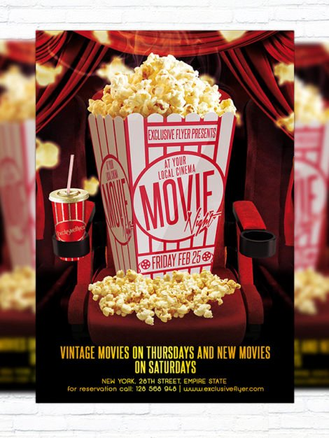 Free Movie Night Flyer Templates New Movie Night – Premium Psd Flyer Template