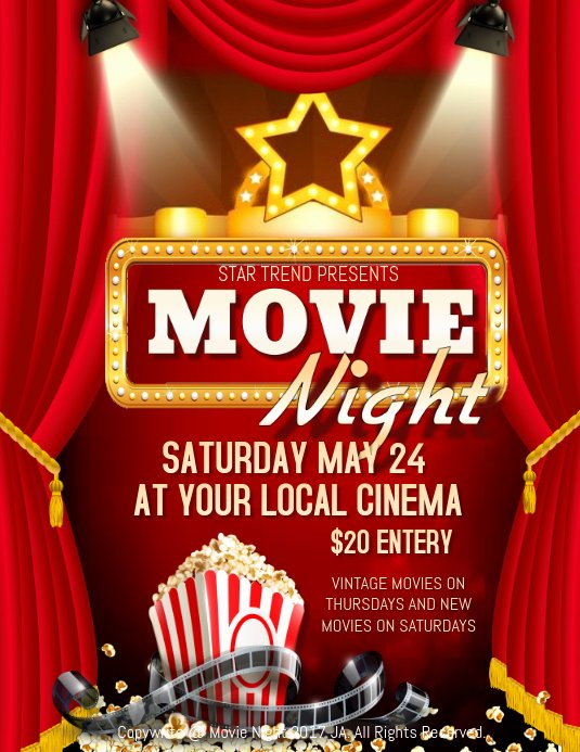 Free Movie Night Flyer Templates New Movie Night Template