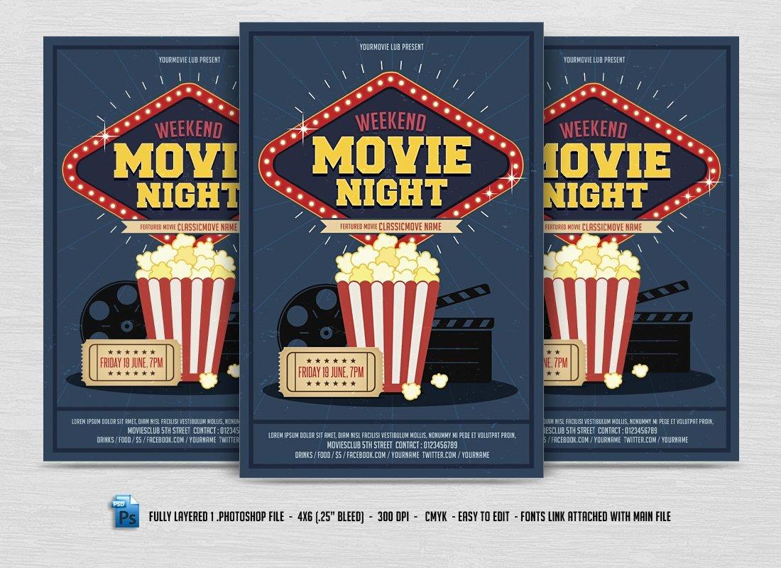 Free Movie Night Flyer Templates Unique Movie Night Flyer Flyer Templates Creative Market