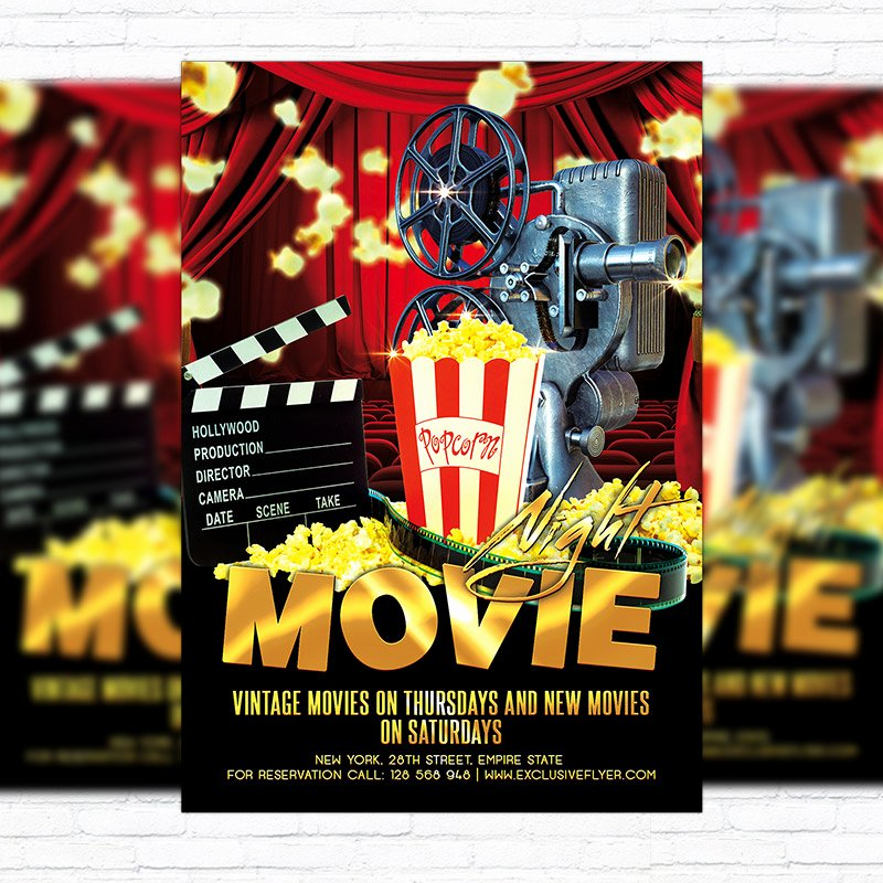 Free Movie Night Flyer Templates Unique Movie Night – Premium Flyer Template Cover