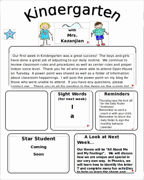 Free Newsletter Templates for Preschool Elegant Free 9 Sample Kindergarten Newsletter Templates In Sample