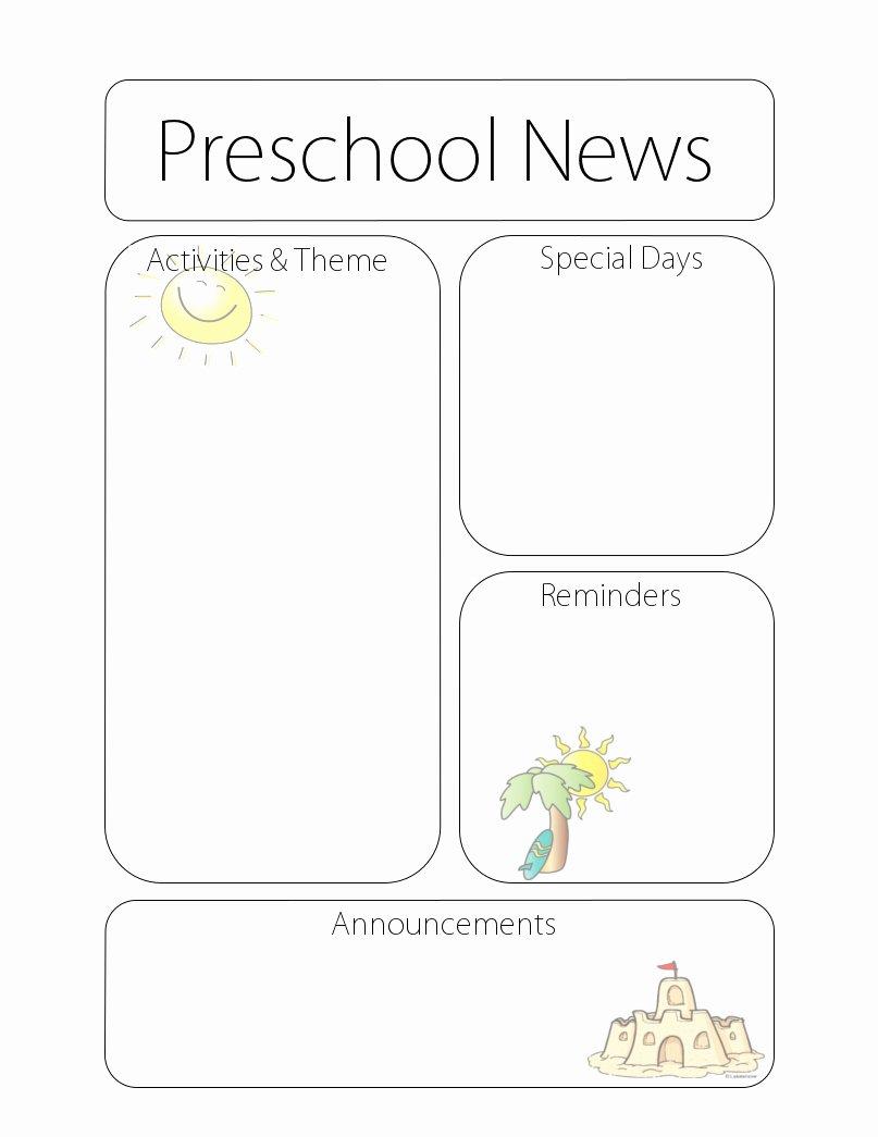 Free Newsletter Templates for Preschool Lovely Newsletter Templates