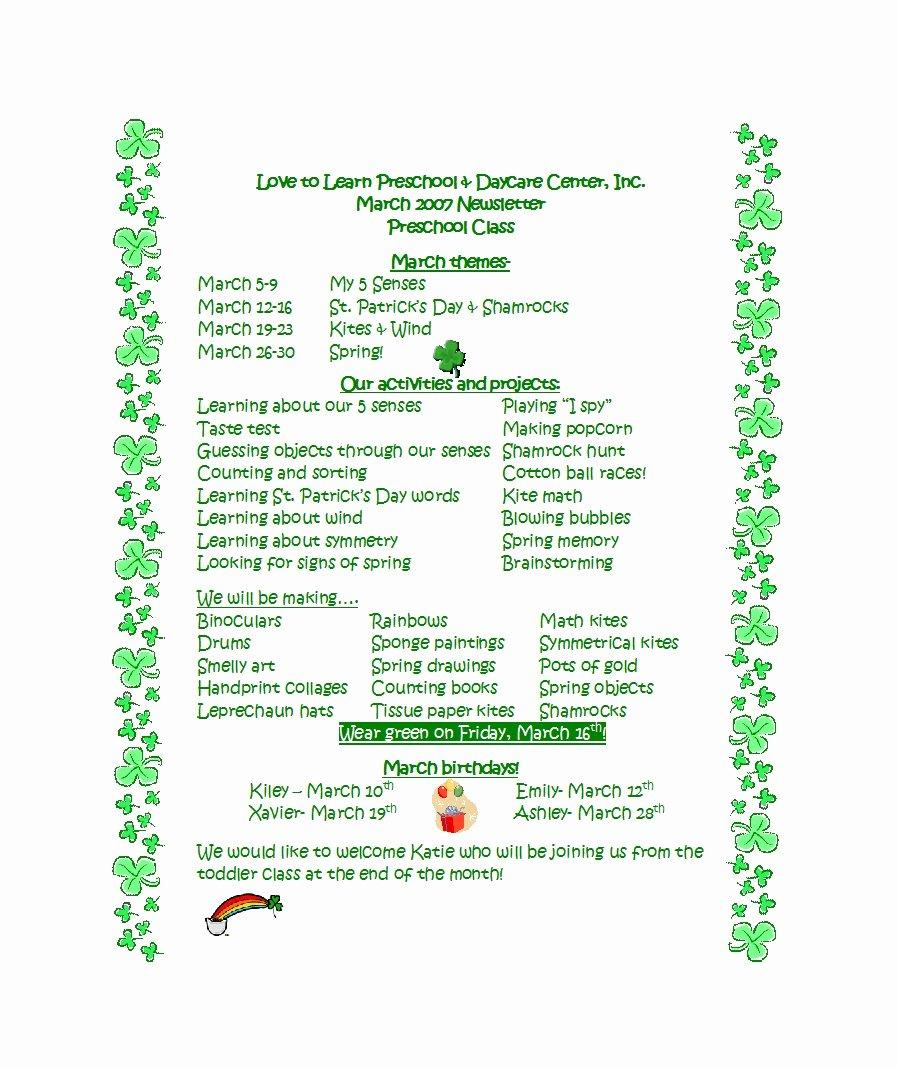 Free Newsletter Templates for Preschool New 50 Creative Preschool Newsletter Templates Tips