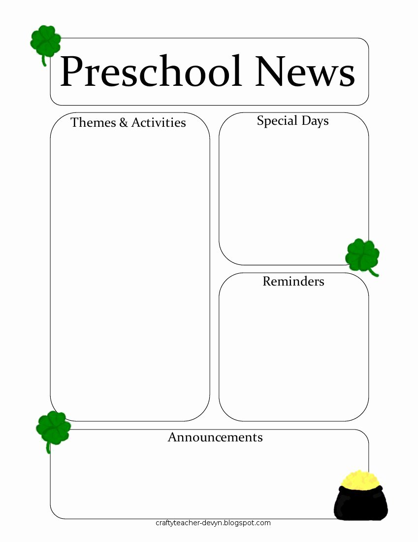 Free Newsletter Templates for Preschool Unique Newsletter Templates