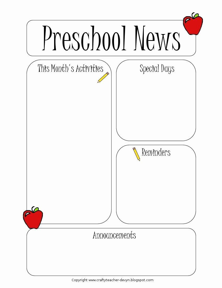 Free Newsletter Templates for Preschool Unique Preschool Newsletter Template