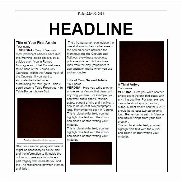 Free Newspaper Template for Word Elegant Free Newspaper Template