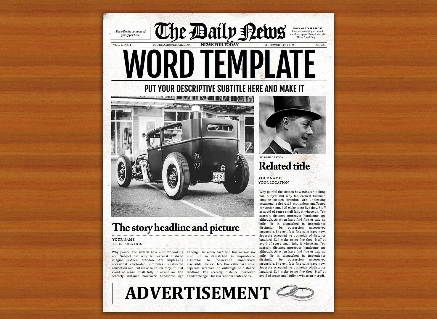 Free Newspaper Template for Word Elegant Vintage Word Newspaper Template Flyer Templates