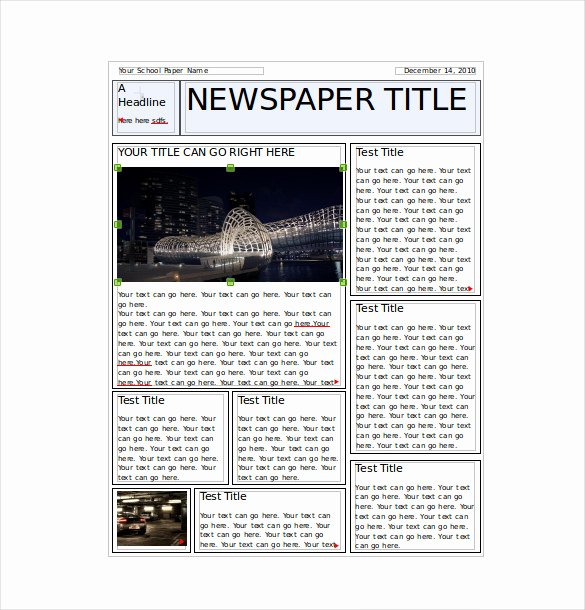 Free Newspaper Template for Word Lovely 7 Classroom Newspaper Templates Free Sample Example