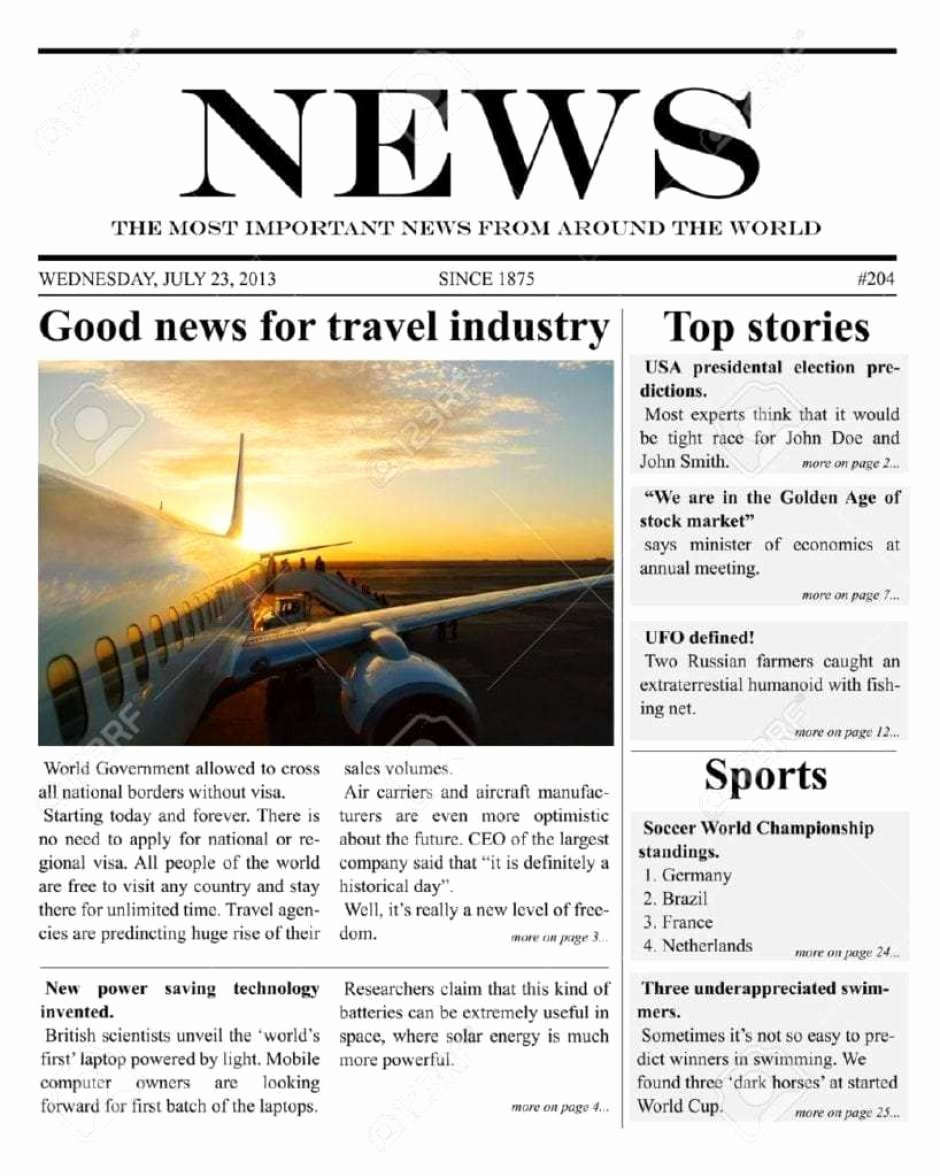 Free Newspaper Template for Word Luxury 9 Newspaper Templates Word Excel Pdf formats