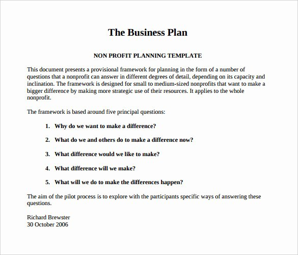 Free Nonprofit Business Plan Template Best Of 22 Non Profit Business Plan Templates Pdf Doc