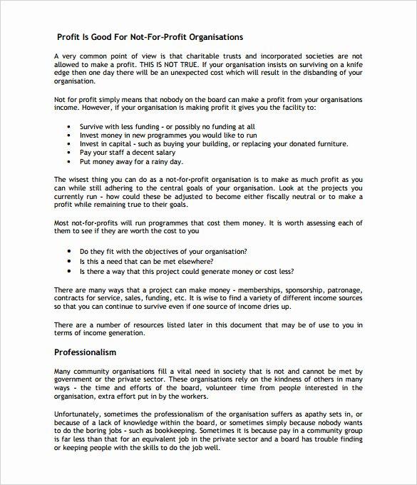 Free Nonprofit Business Plan Template Elegant Business Plan Guidelines – Business form Templates