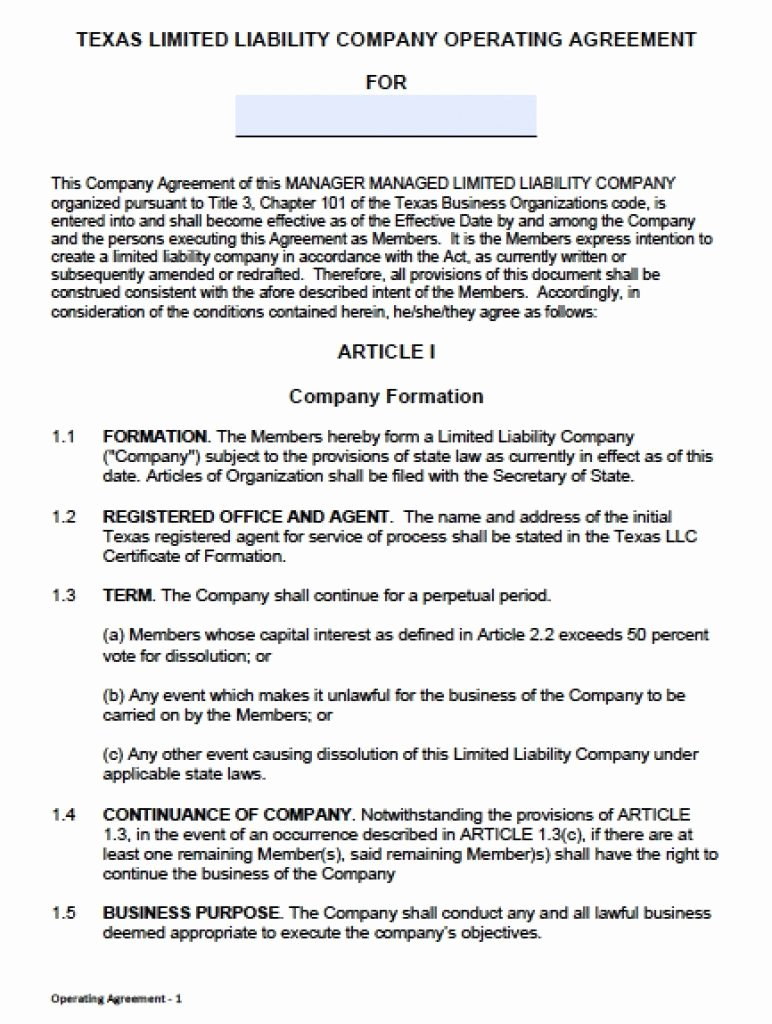 Free Operating Agreement Template Beautiful Download Texas Llc Operating Agreement Template Llc