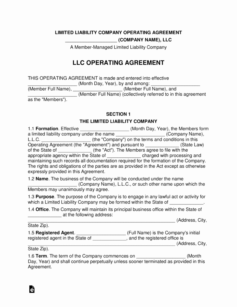 Free Operating Agreement Template Best Of Multi Member Llc Operating Agreement Template
