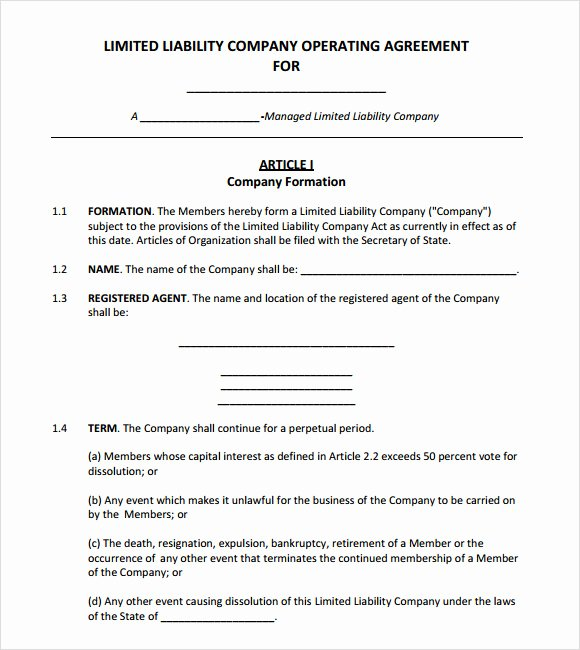 Free Operating Agreement Template Best Of Operating Agreement Template Free