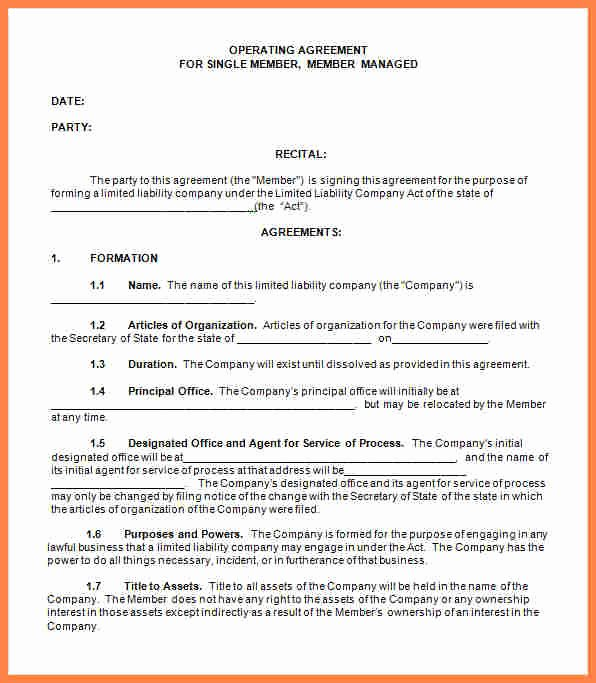 Free Operating Agreement Template Fresh 4 Single Member Llc Operating Agreement Template