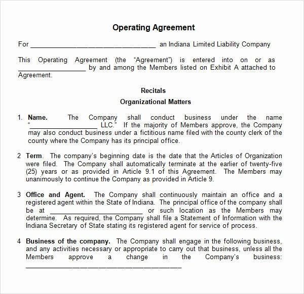 Free Operating Agreement Template Fresh Free 11 Sample Operating Agreement Templates In Google