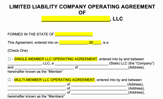 Free Operating Agreement Template Fresh Free Llc Operating Agreement Templates Pdf