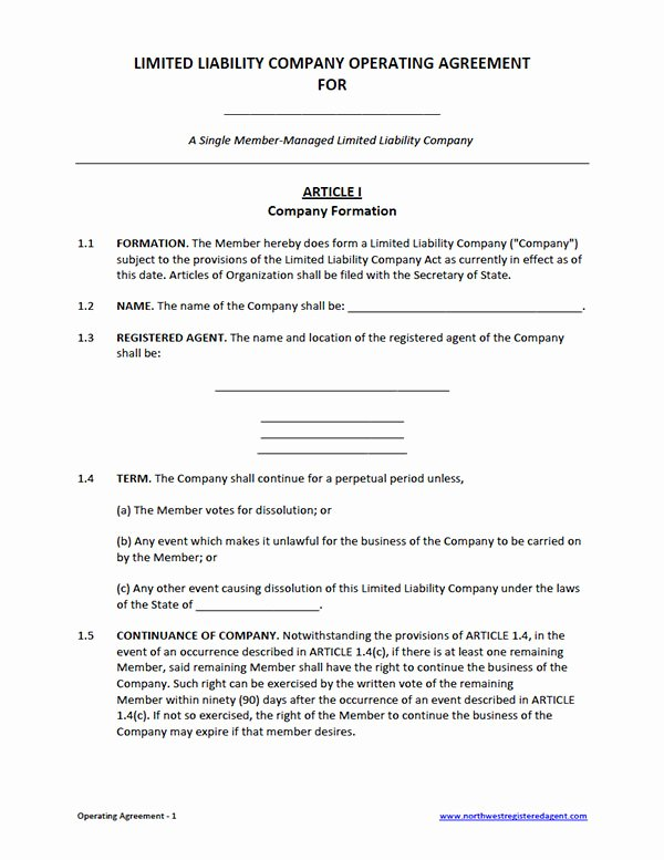 Free Operating Agreement Template Lovely Free Single Member Llc Operating Agreement Template