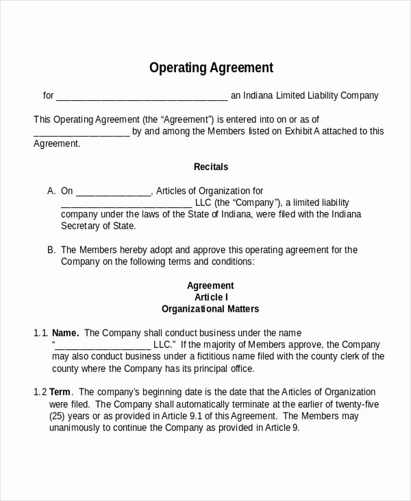 Free Operating Agreement Template Unique 17 Agreement Templates Free Sample Example format