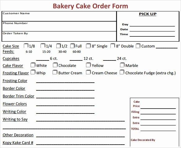 Free order form Template Word Elegant Sample Cake order form Template 16 Free Documents
