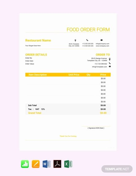 Free order form Template Word Luxury 13 Food order Templates Word Pdf Excel Google Docs