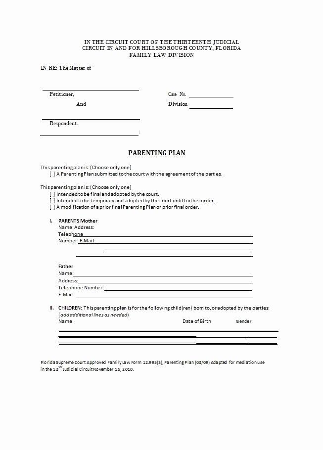 Free Parenting Plan Template Beautiful 49 Free Parenting Plan & Custody Agreement Templates