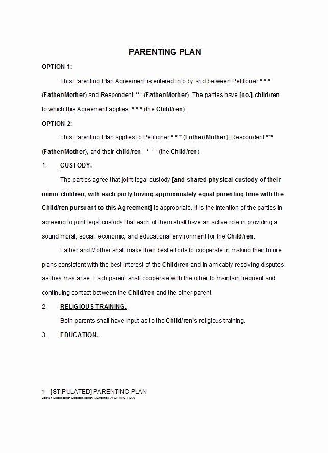 Free Parenting Plan Template Inspirational 49 Free Parenting Plan & Custody Agreement Templates