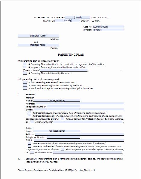 Free Parenting Plan Template Inspirational Florida D Parenting Plan forms & Instructions