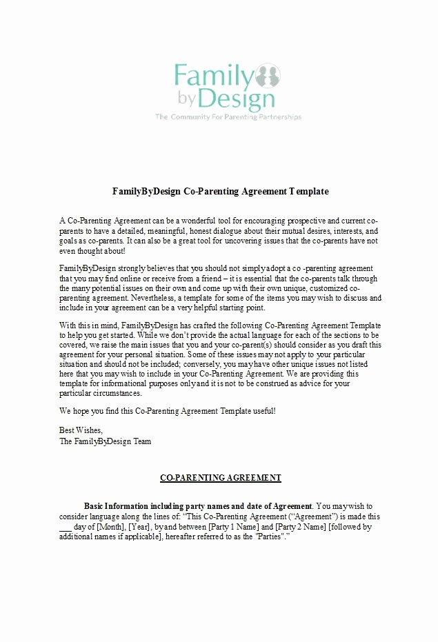 Free Parenting Plan Template New 49 Free Parenting Plan & Custody Agreement Templates