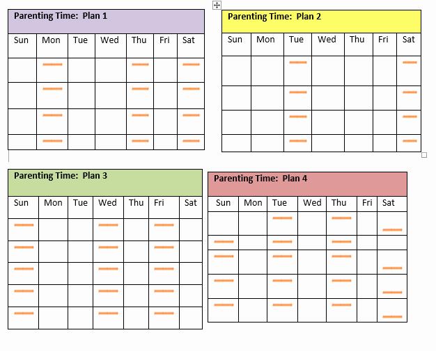 Free Parenting Plan Template Unique Visitation Schedule Template