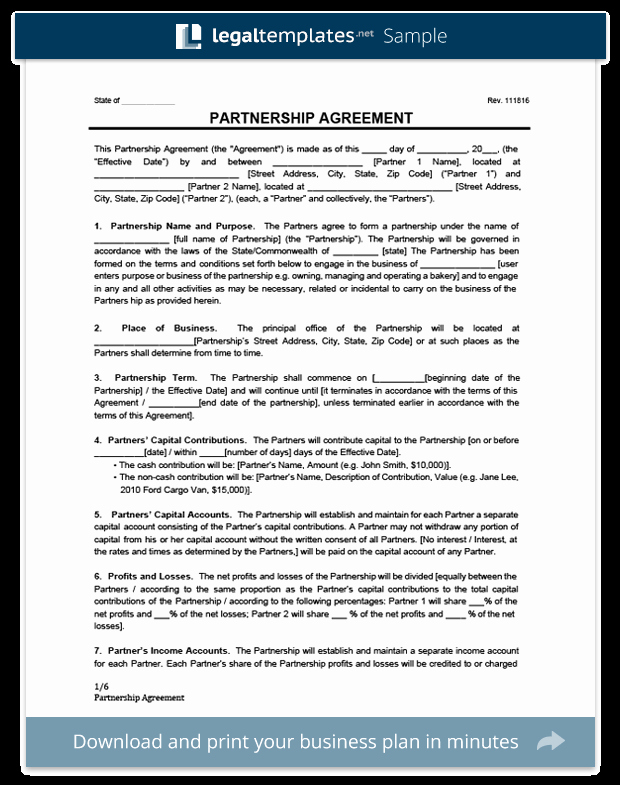 Free Partnership Agreement Template Word Beautiful Partnership Agreement Template