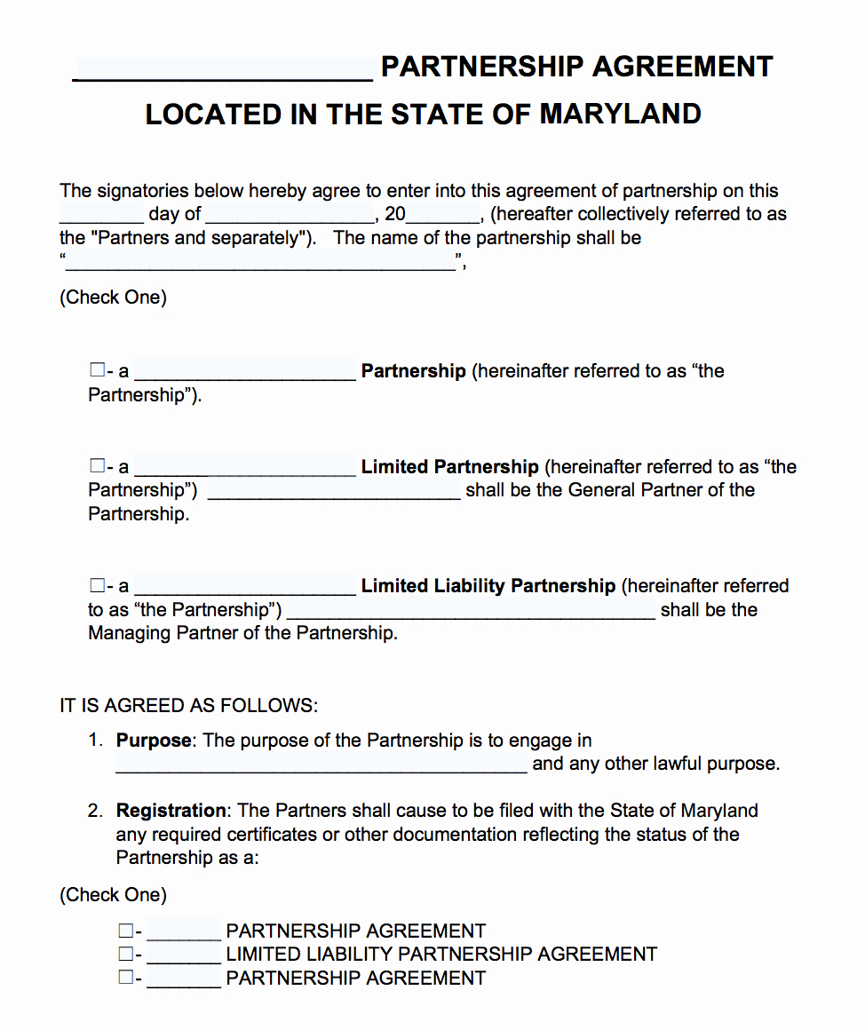 Free Partnership Agreement Template Word Elegant Free Maryland Partnership Agreement Template Pdf