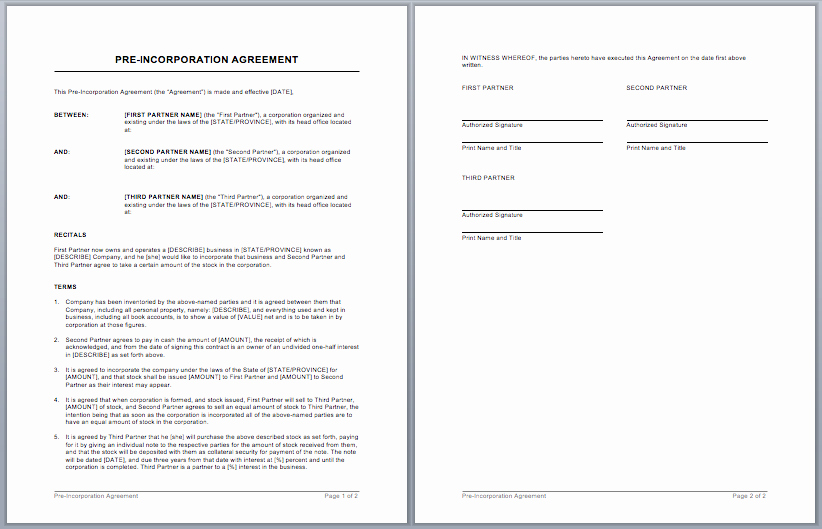 Free Partnership Agreement Template Word New Partnership Contract Template – Word Templates for Free