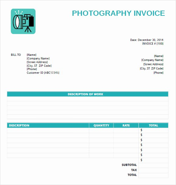 Free Photography Invoice Template Awesome Free 11 Graphy Invoice Templates In Free Samples
