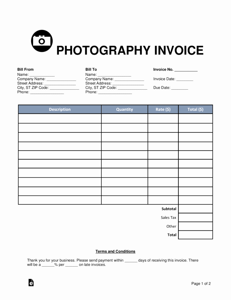 Free Photography Invoice Template Fresh Free Graphy Invoice Template Word Pdf