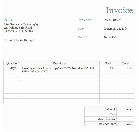 Free Photography Invoice Template Fresh Wedding Photography Invoice Template 10 Simple but