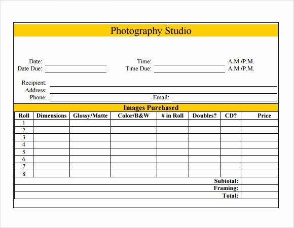 Free Photography Invoice Template Inspirational Wedding Graphy Receipt Template